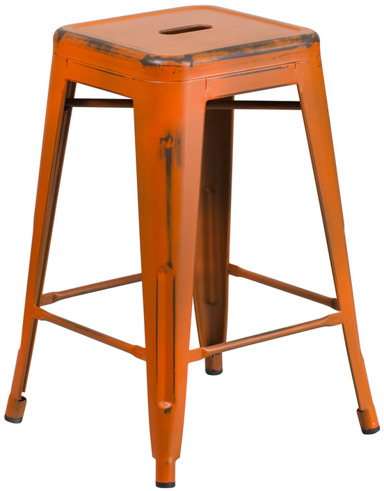Flash Furniture 24 39 39 High Backless Distressed Metal In Outdoor Stool Ebay