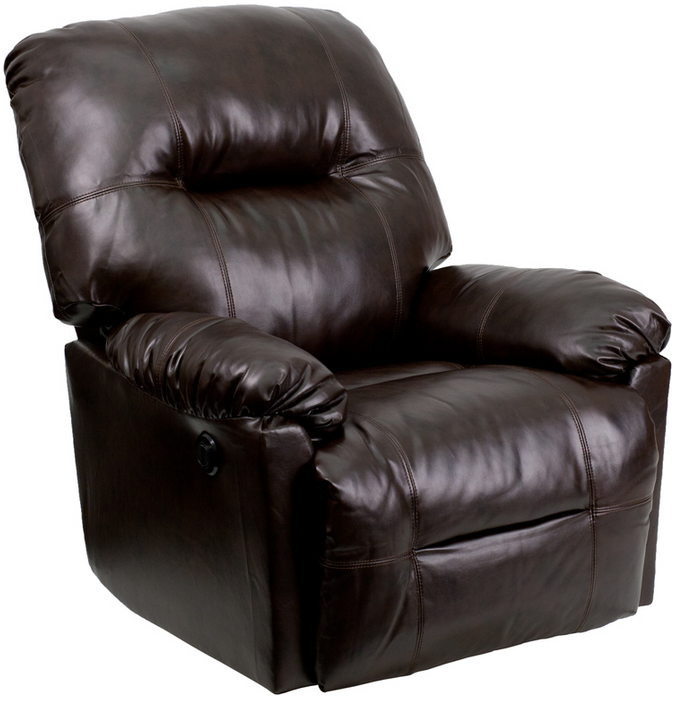 Flash Furniture Bentley Brown Leather Chaise Power