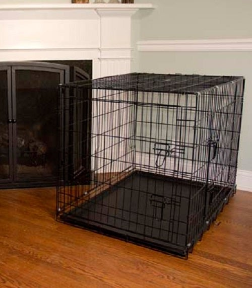 iconic pet foldable double door dogcat training crate with divider