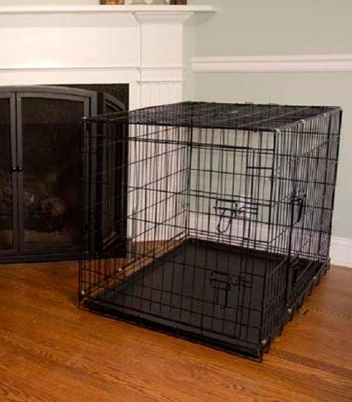 Iconic pet foldable double door dog cat training crate for Double door with dog door