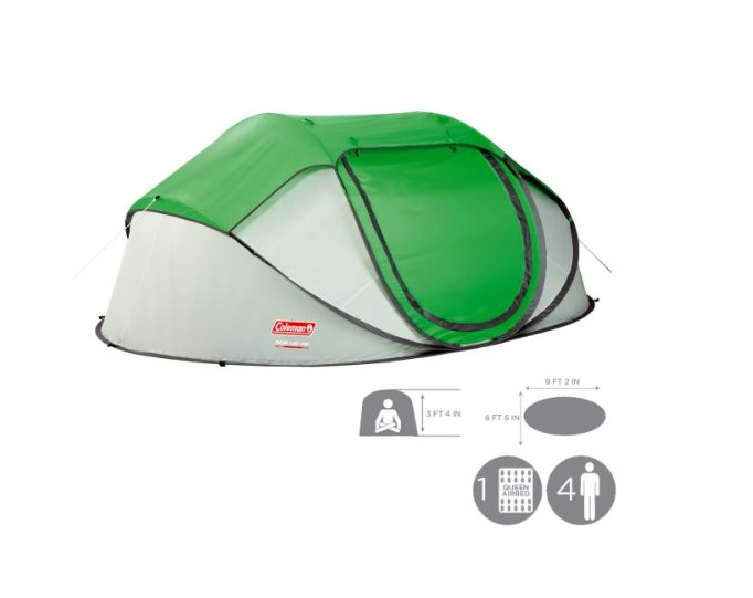 Coleman New 4 Person Instant Pop Up Tent W Rainfly