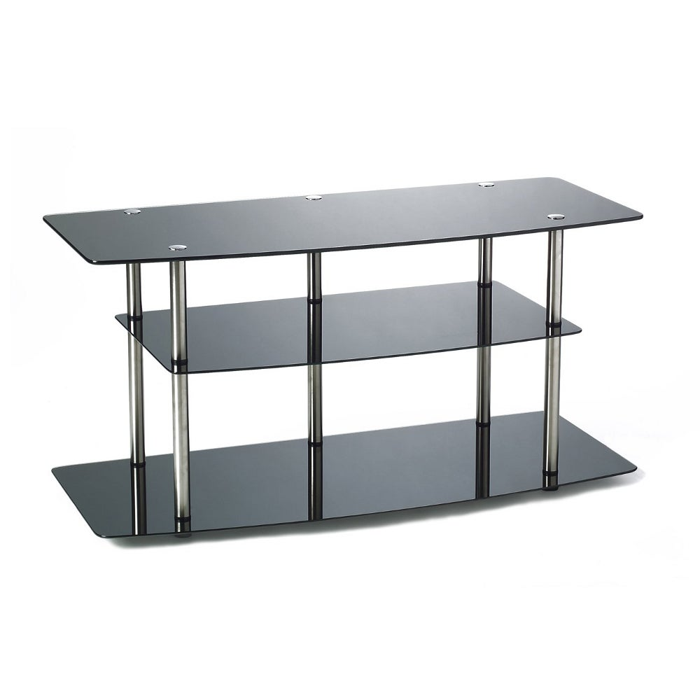 convenience concepts classic black glass tv stand r2 221 ebay. Black Bedroom Furniture Sets. Home Design Ideas