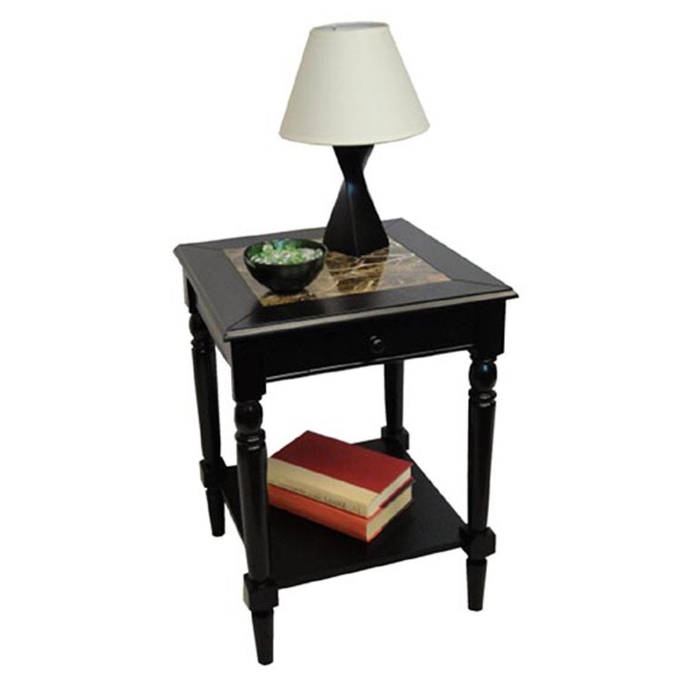 convenience concepts french country faux marble top end table r3 0123. Black Bedroom Furniture Sets. Home Design Ideas