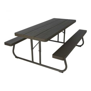 Lifetime 6u0027 Folding Outdoor Picnic Table (Brown) 60110