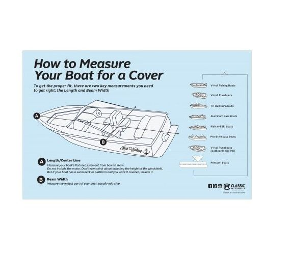 "Classic Accessories 88958 StormPro Boat Cover 20-22 ft 106/"" Beam Width"