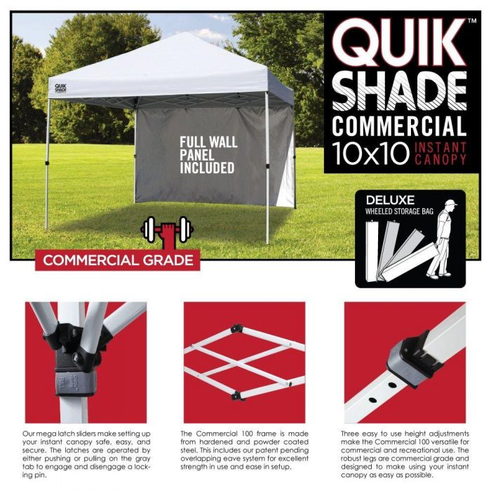 New Quik Shade Commercial C100 10 X10 Instant Canopy With Wall