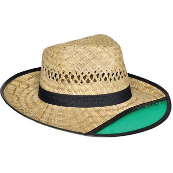 Dorfman Pacific Straw Tractor Hat with Green Built-in Visor (390COS) 63a4e3a1e38