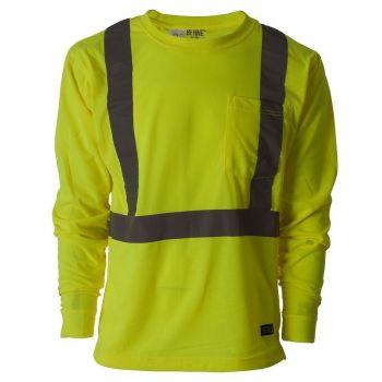 76697527f26c Berne Men's Hi-Visibility Class 3 Long Sleeve Pocket Tee Shirt HVK008YW