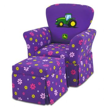 Kidz World John Deere Purple Skirted Kid S Rocker Chair With Ottoman