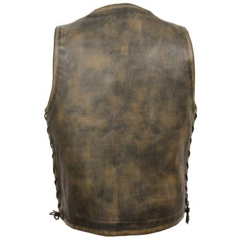 d92dc91d9a Milwaukee Leather Men's Brown Distressed Motorcycle Vest w/ Snap Front  MLM3540