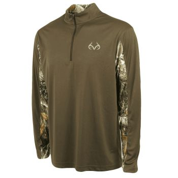 0afa7fc35 Realtree Men's Stealth Quarter-Zip Performance Top - Dark Brown RRTUZ10676