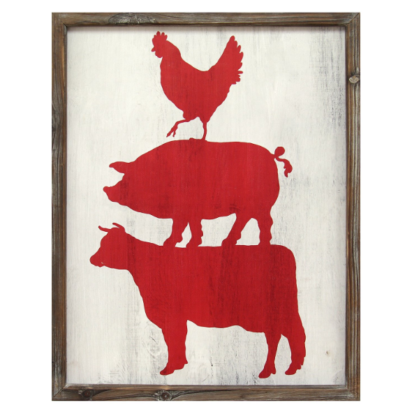 Stratton Home Dcor Cow Pig Rooster Wall Art S01990