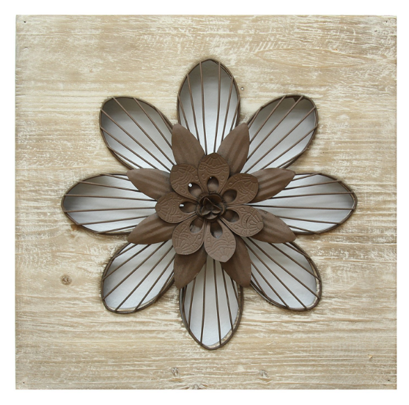Stratton Home Décor Rustic Natural Wood and Espresso Finishes Flower ...