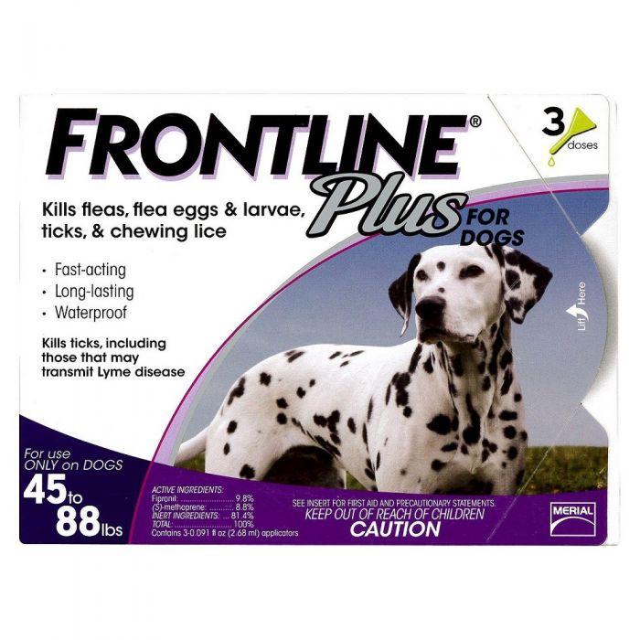 Frontline Plus Dog Flea and Tick Control 45-88 lb. (3 Doses)