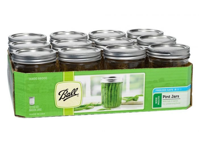 3a68cad5c4aa Ball Pint 16 oz Wide Mouth Mason Canning Jars 12 Pack 66000
