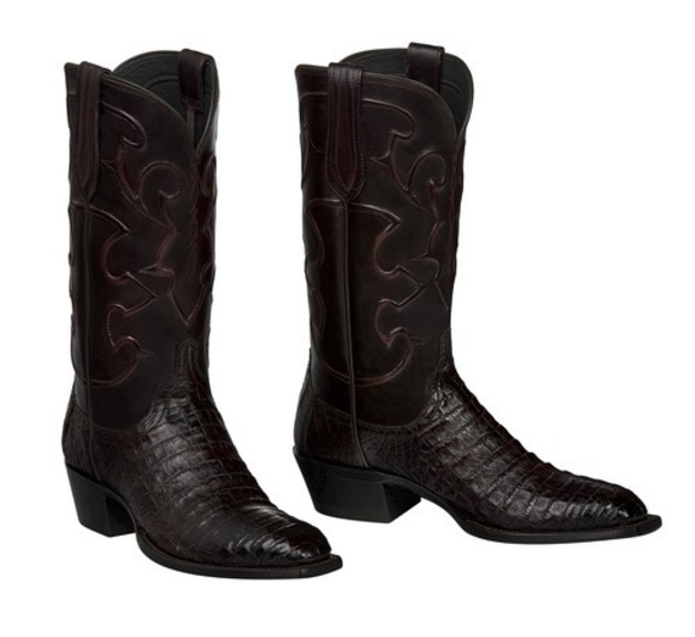 c51a3b32d95 Lucchese Men's Charles Black Cherry Caiman Crocodile Belly 1 Toe Boots  M1637.14
