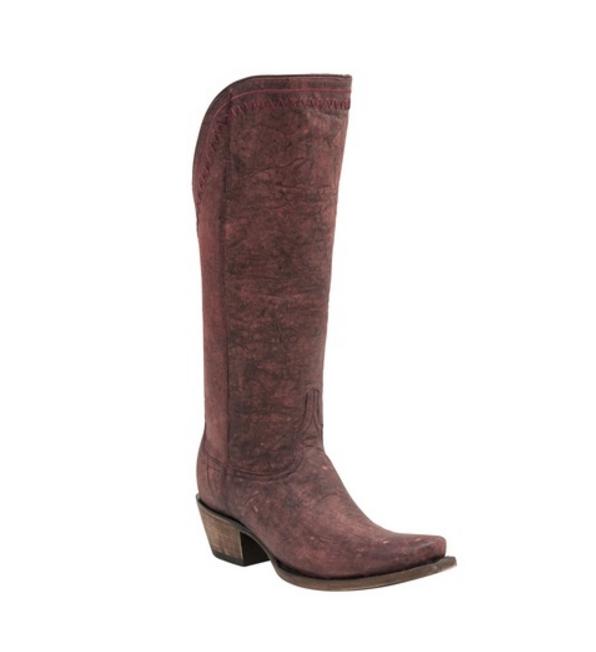 ed65475192e Lucchese Women's Vera Black Cherry Zip Snip Toe Tall Western Boots M4909