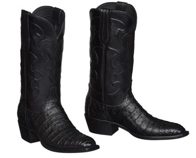 6c85f1e35a2 Lucchese Men's Charles Black Caiman Crocodile Belly Boots M1636.14