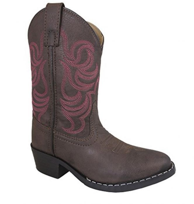 610d43c9ae9 Smoky Mountain Youth Brown w/ Pink Stitch Monterey Western Cowboy Boots  1624Y