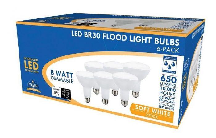 LED BR30 Flood Light Bulbs 65W 2700K 6 Pack