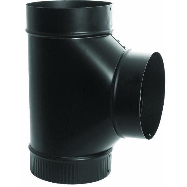 Imperial Mfg 6 inch Black Stove Pipe Cleanout Tee