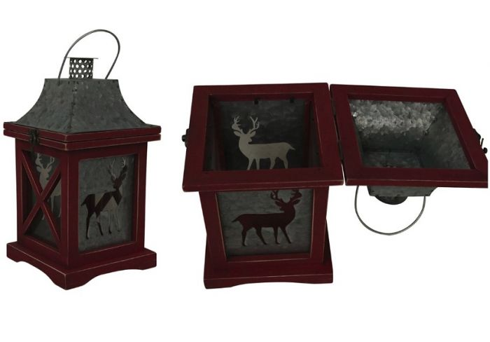 Small Red Wood Lantern With Reindeer Cutout Jk38529brk