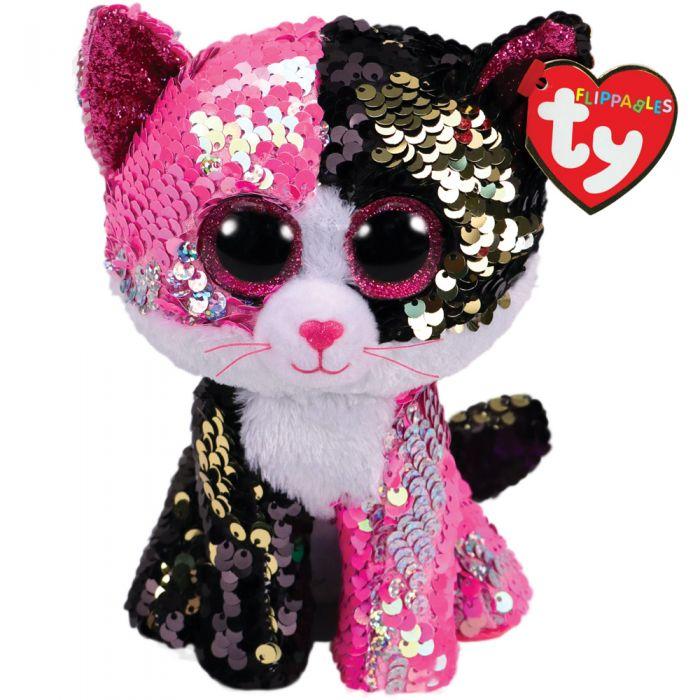 TY Flippable Malibu Pink Black Sequin Cat Regular 36261 6ecac843fcb4