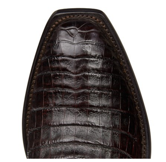 24691652daf Lucchese Men's Charles Black Cherry Caiman Crocodile Belly 1 Toe Boots  M1637.14
