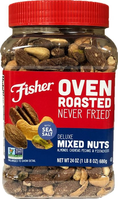 Fisher 24 oz Oven Roasted Never Fried Deluxe Mixed Nuts