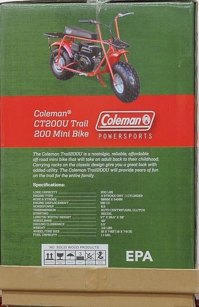 Coleman Gas-Powered Mini Bike CT200U