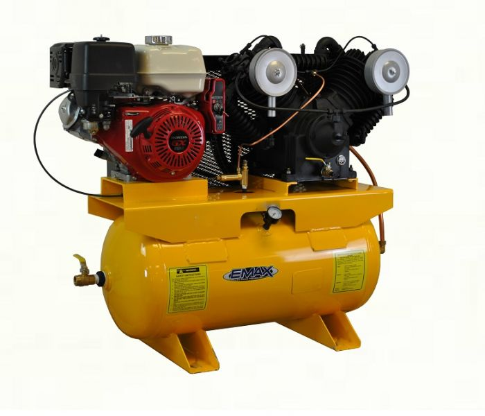 EMAX Heavy Industrial 13 HP HONDA Electric Start 30 Gallon Horizontal 2  Stage Gas Air Compressor EGES1330ST