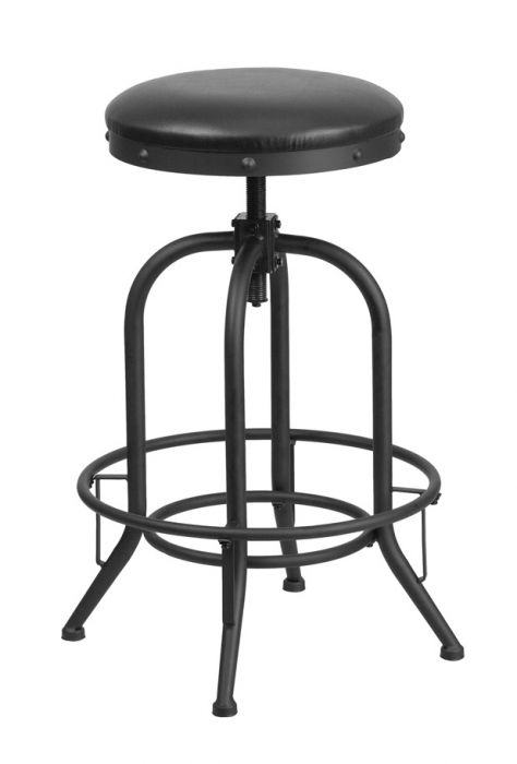 Flash Furniture 30 Inch Barstool Wswivel Lift Black Leather Seat Et