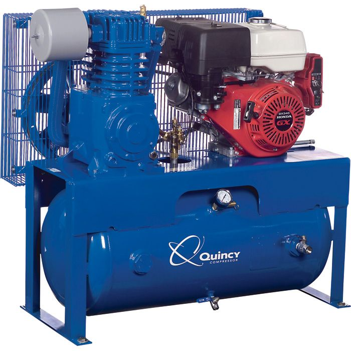 Quincy QT 7 5 Pro Splash Lubricating Reciprocating Compressor 7 5 HP 13 HP  Honda Gas Engine 30 Gallon lon Horizontal G213H30HCB