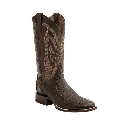2582784cfd6 Lucchese Men's Brant Cigar Hornback Caiman/Chocolate Mad Dog Goat Boot M4539