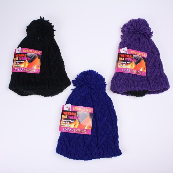 42ec2360d551c Polar Extreme Heat Women s Cable Knit Hat with Pom - Assorted Colors (PE-H- HAT-201)