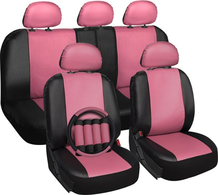 Oxgord 17 Piece Seat Cover Set For Cars Faux Leather Pink And
