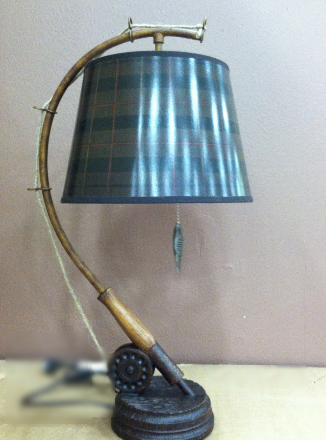 fishing pole table lamp w fish pull chain txpd238 ebay. Black Bedroom Furniture Sets. Home Design Ideas
