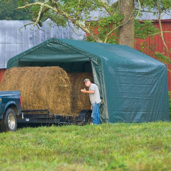 Hay Storage Shelters : Shelterlogic ft peak style hay