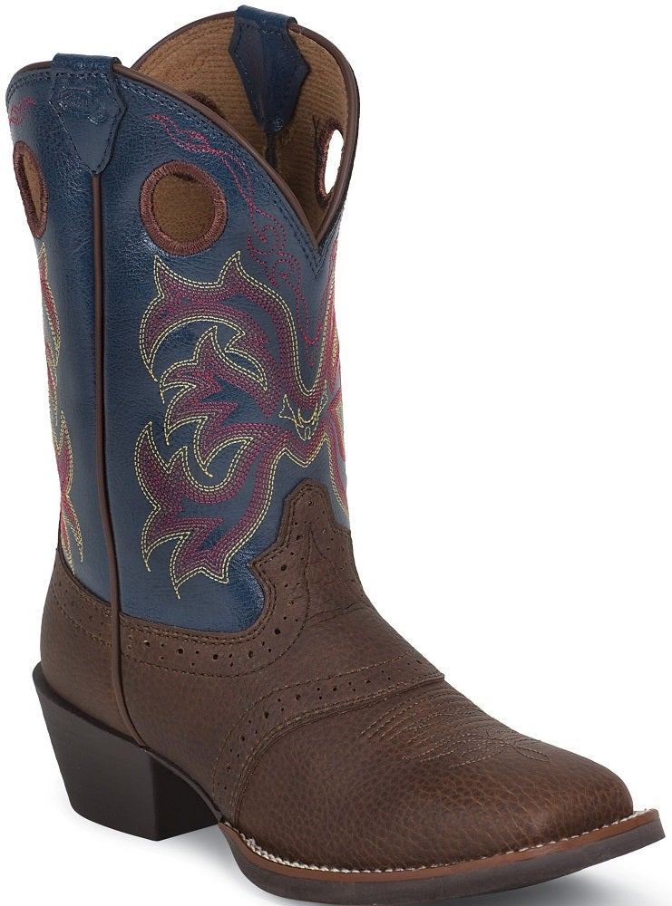 Justin Kids Dark Brown Amp Blue Cowhide Stampede Boot