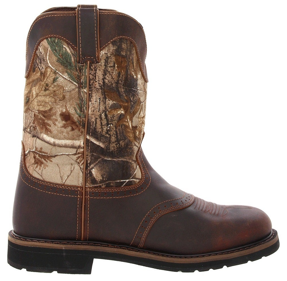 Justin Men S 11 Quot Rugged Tan Cowhide Camo Stampede