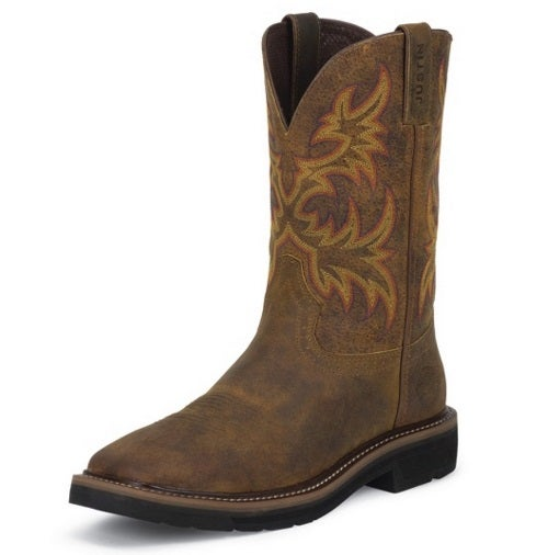 Justin Men S 11 Quot Rugged Tan Cowhide Square Toe Stampede