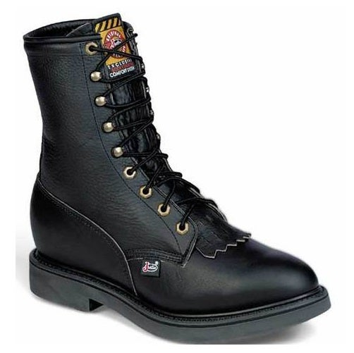 justin s 8 quot black pitstop comfort lace up work