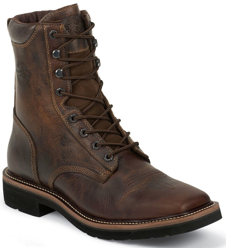 Justin Men S 8 Quot Rugged Tan Stampede Work Boot Wk681