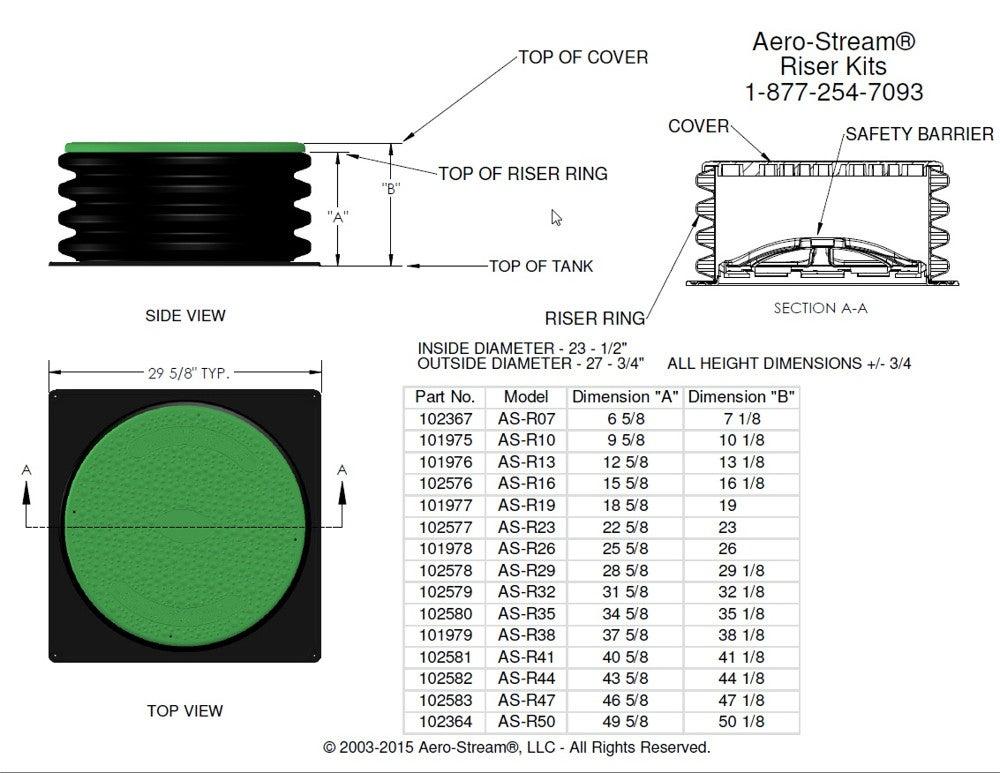 aero-stream as-r35 septic tank riser kit - 24