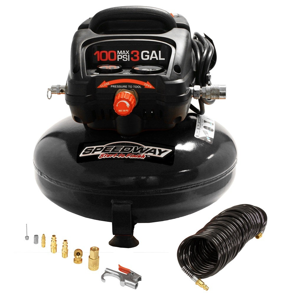 Rural King Air Compressor >> Speedway 3-Gallon Oil-free Pancake Air Compressor w/ Kit 50959 | eBay