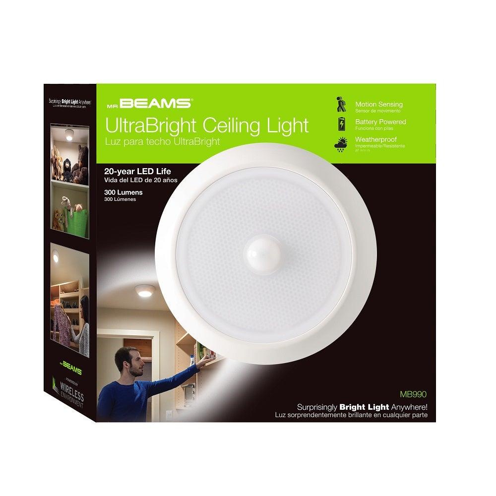 Led Ceiling Lights With Sensor: Mr. Beams 3 Pk 300-Lumen In/Outdoor Motion Sensor LED